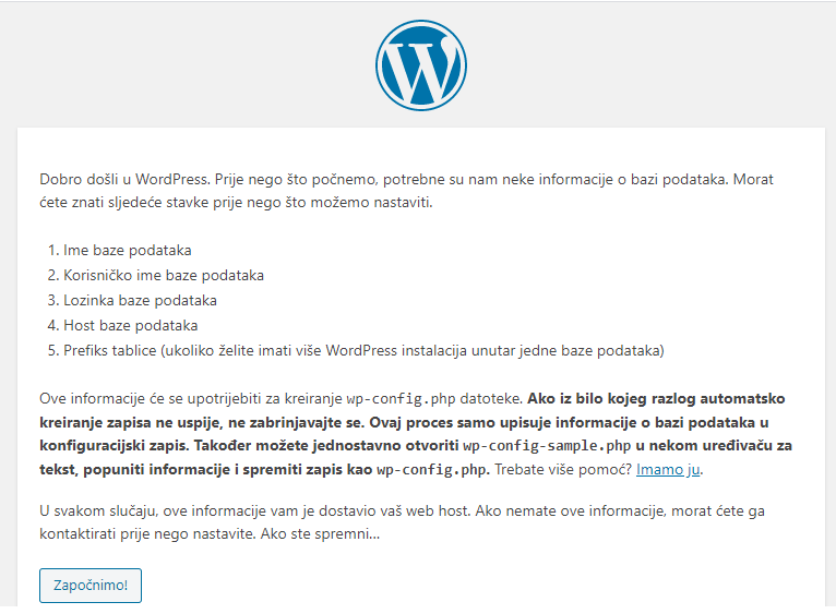 wordpress pocetak instalacije