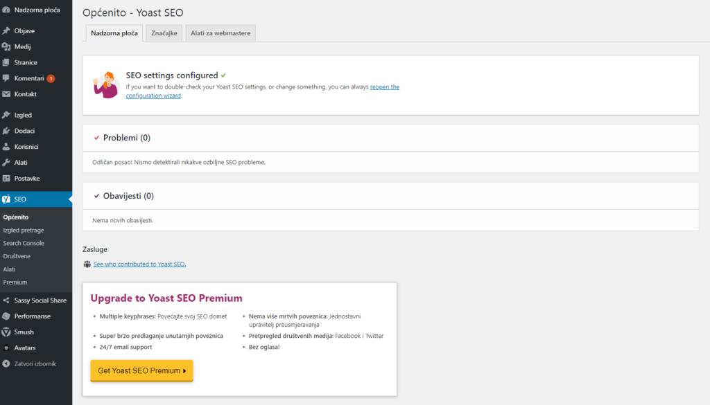 yoast seo dodatak za optimizaciju sadržaja web stranice