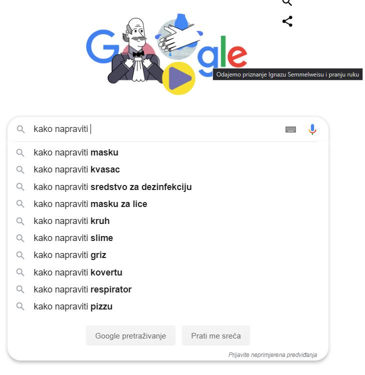 covid19 google pretrage