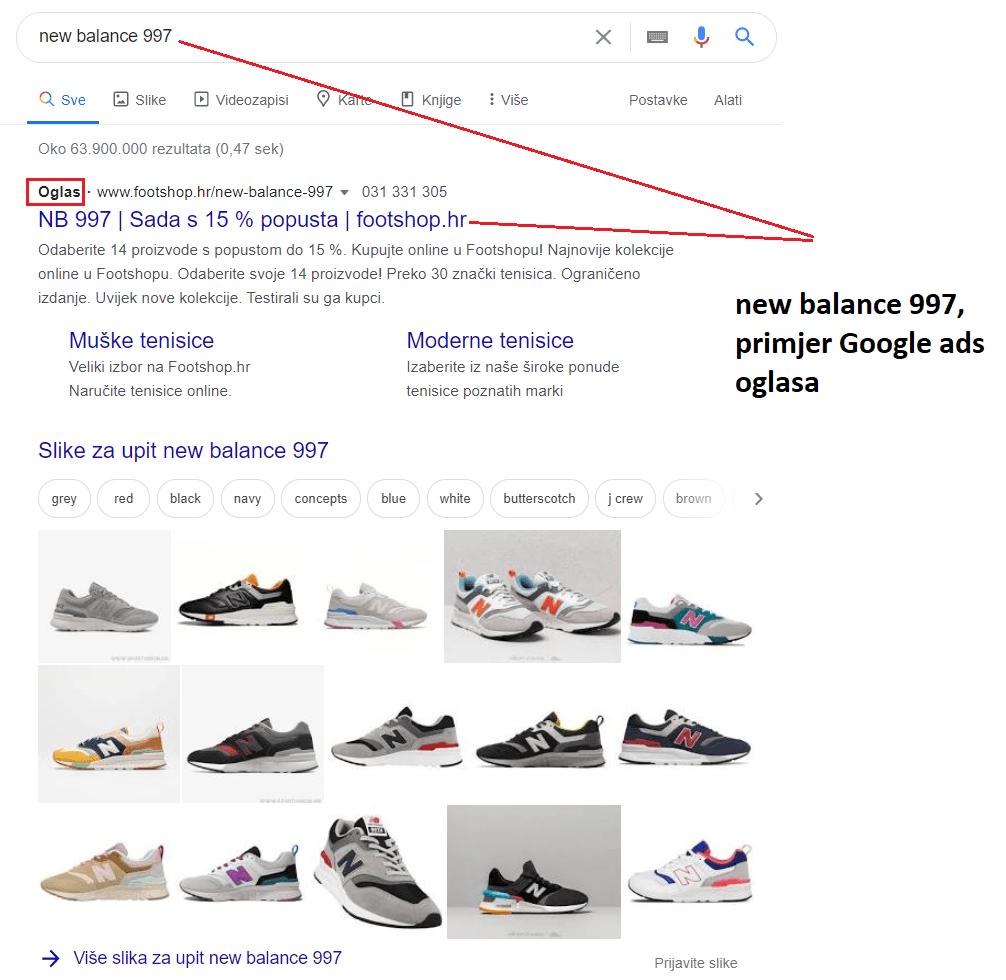 """new balance 997 primjer google ads oglasa na trazilici za korisnicki upit """"new balance 997"""""""""""