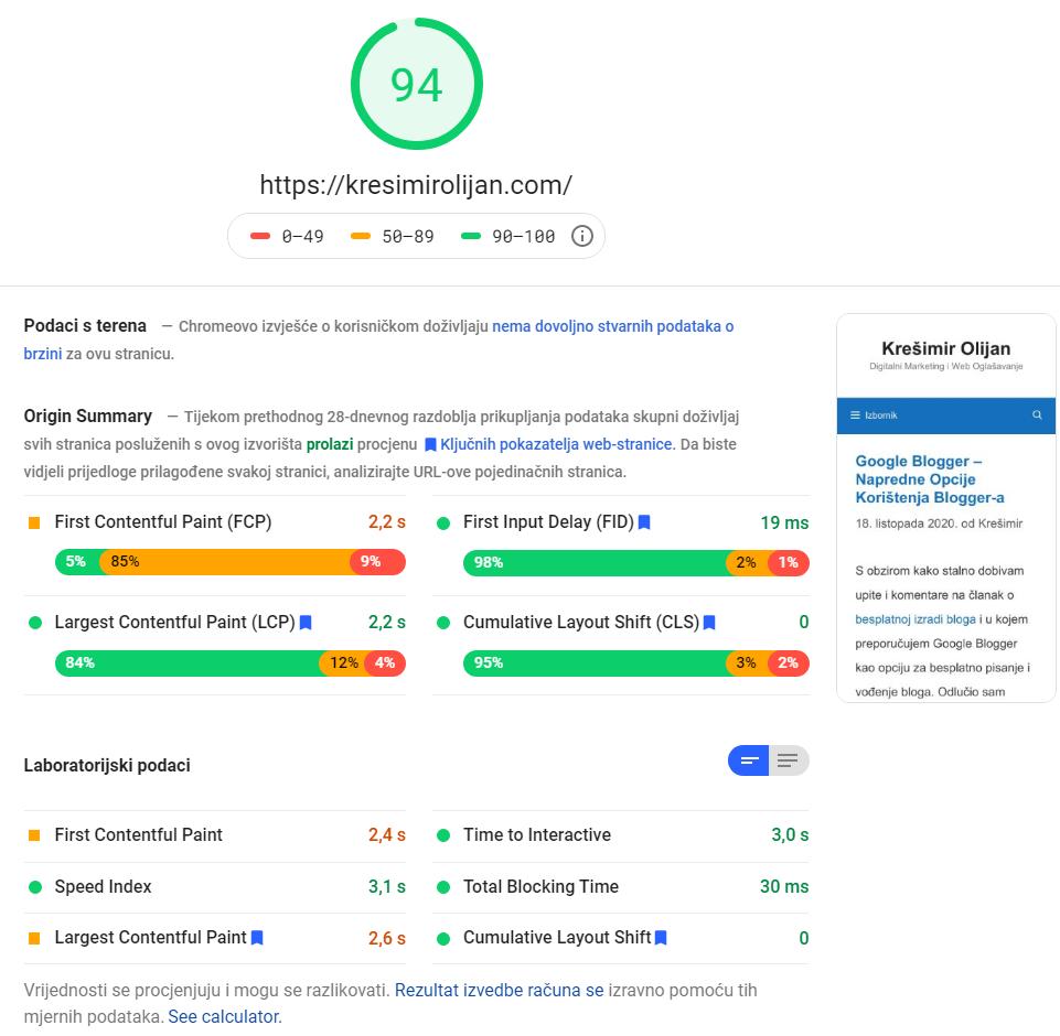 google speed test web lokacije za mobilne uređaje
