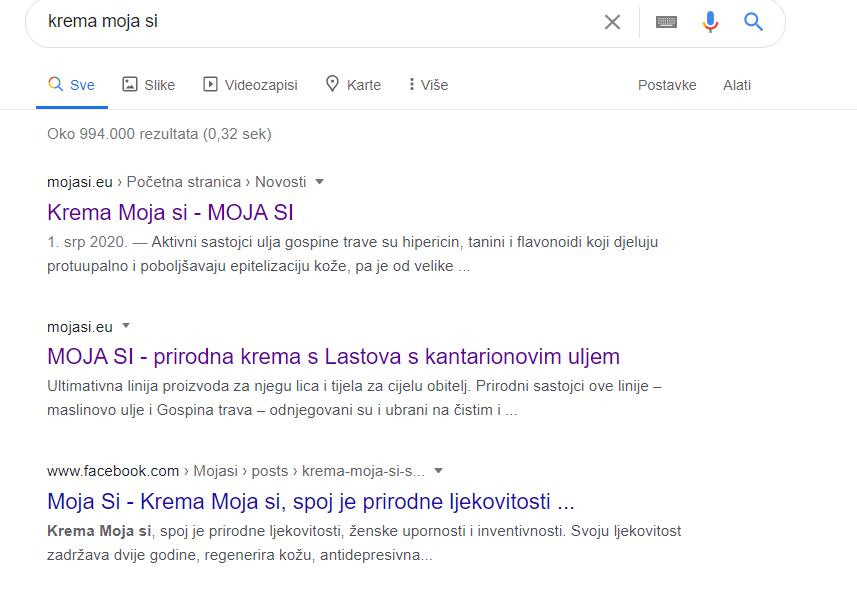 trenutni rezultati google pretrage